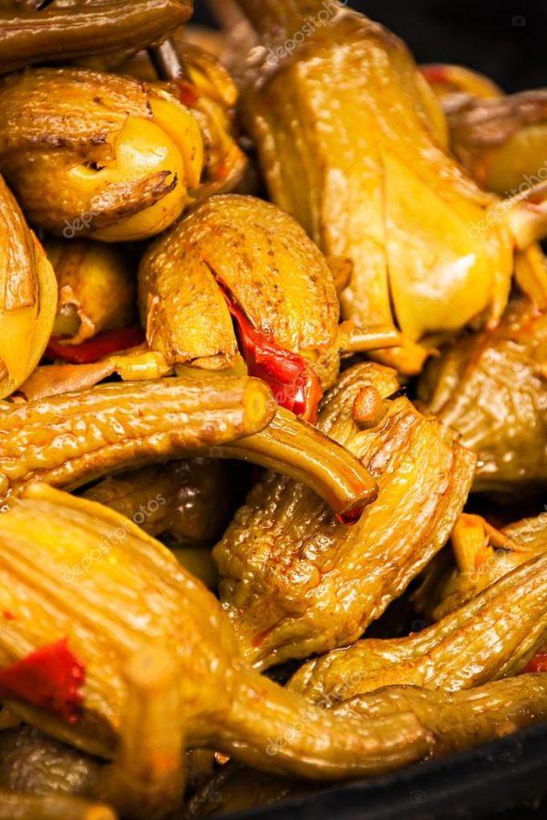 Eggplants in marinade