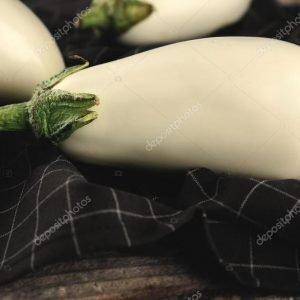 White eggplant on napkin, closeup